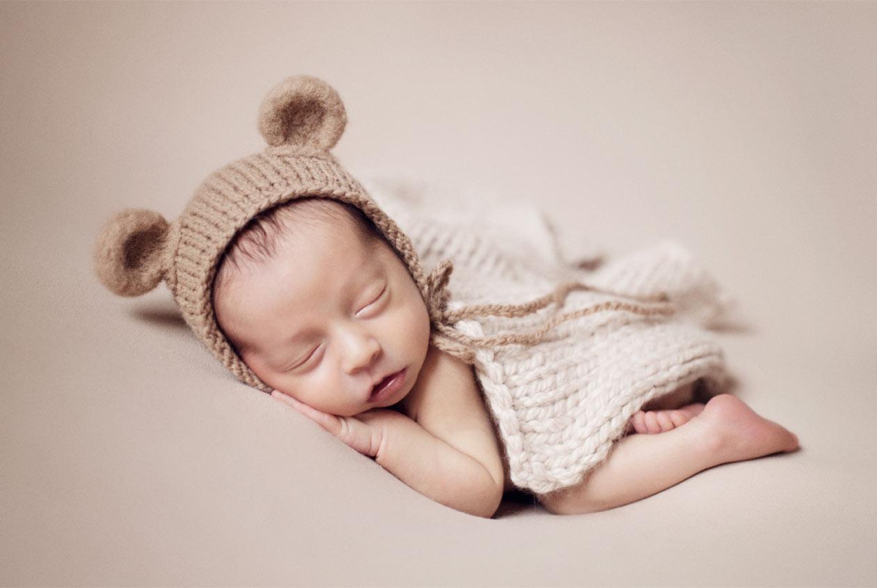 Professional newborn portrait of a boy