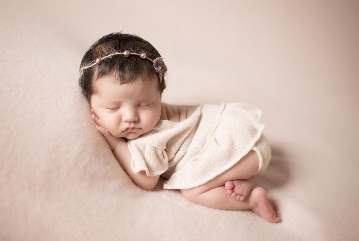 Professional infant portrait of a girl